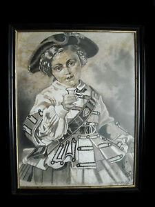 Petite Fille En Tenu D'apparat Fusain Signé Maridal 1896 Girl Ceremonial Dress Des Biens De Chaque Description Sont Disponibles