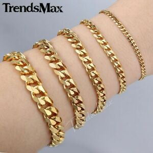 3-5-7-9-11mm-Gold-Plated-Stainless-Steel-Curb-Cuban-Link-Chain-Men-Bracelet