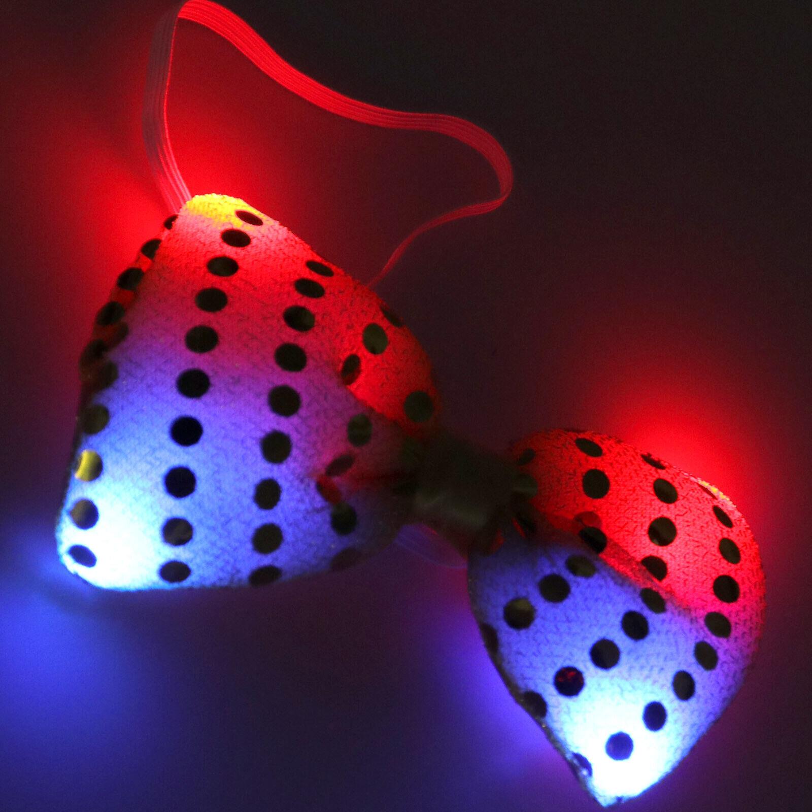 1pcs Bogen Fliege Pailletten LED blinkend Party Tie Weihnachten Flashing Gelb