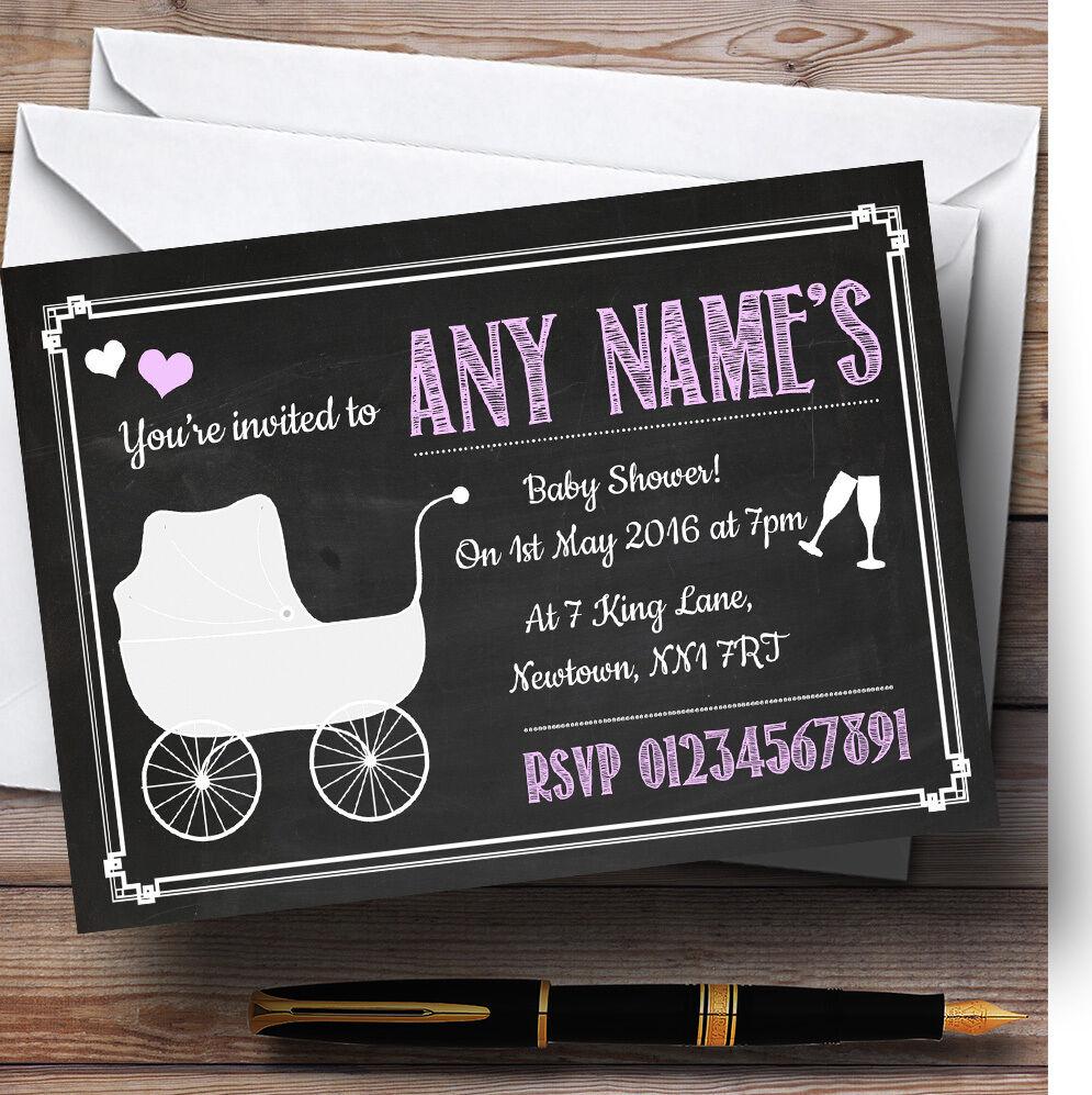 CHALKBOARD rosa personalizzata personalizzata personalizzata Baby Shower inviti 084618