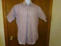 Men's Towncraft White And Purple Striped Shirt Size 15 Short Sleeves Msp $18