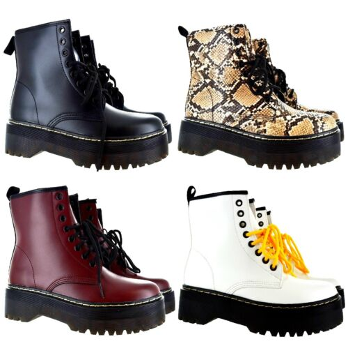 LADIES WOMENS CHUNKY PLATFORM LACE UP ANKLE ICON RETRO COMBAT GOTH PUNK BOOTS