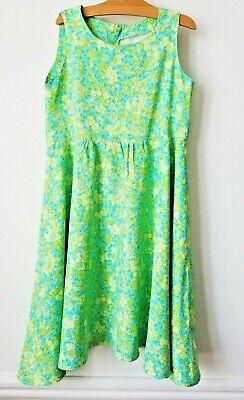 Robe Vintage Nylon Fleurs Liberty état Impeccable Très Très Joli !!! 8-9 Ans
