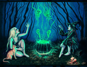 Halloween Spooky Pictures.Details About Gothic Fantasy Witches Cauldron Art Print Halloween Spooky Magic Cat Dark Blue