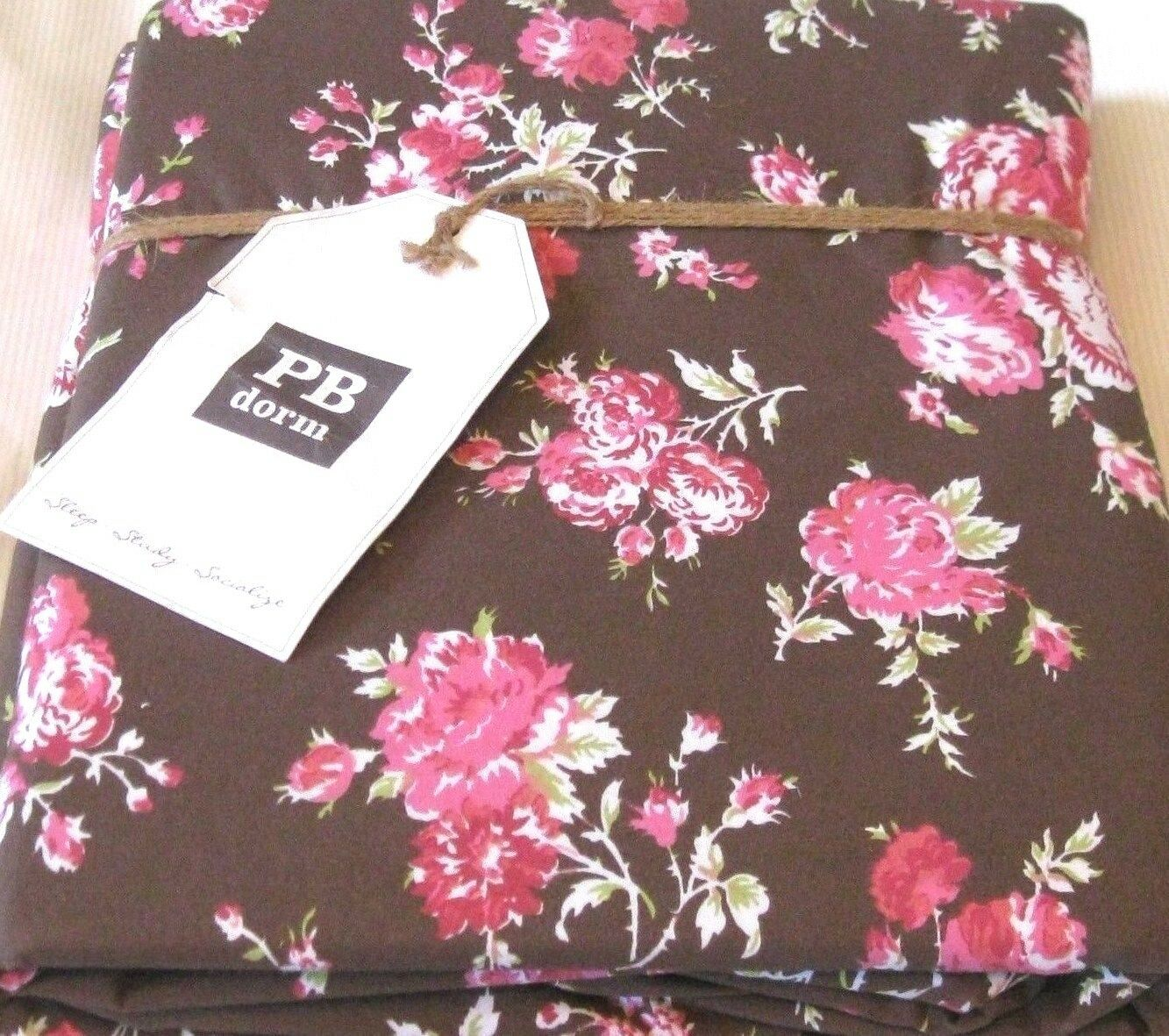 Pottery Barn Dorm Twin Duvet Cover Sunwashed Floral Pink pinks Flowers Brown NIP