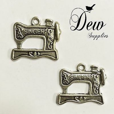 """20 Tibetan Silver Sewing Machine Charms Pendants /""""SINGER/"""" For Jewelry Findings"""
