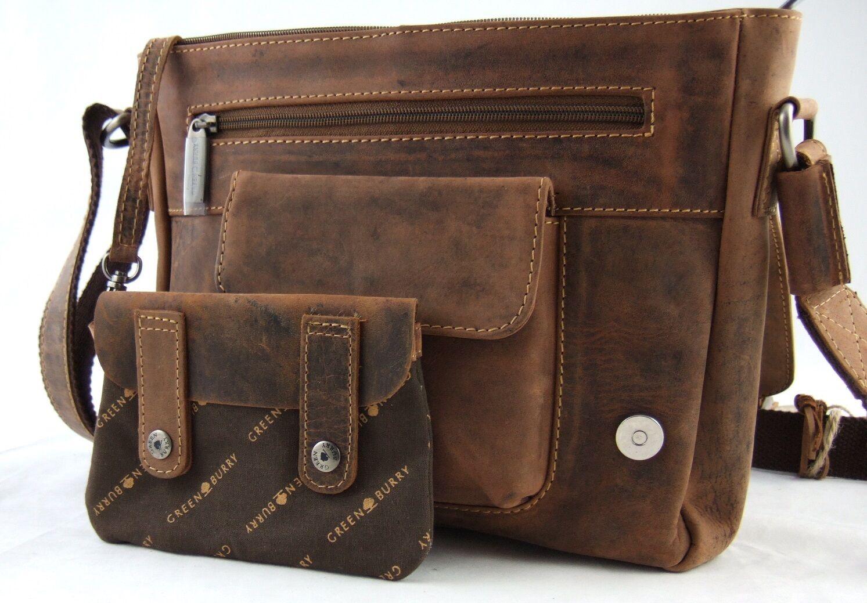 9ca198a03cdafc ... GrünBurry Messenger Rind-Leder 30259 cm cm cm Schulter-Tasche  Umhängetasche 1911-M ...