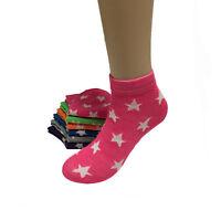 6-12 Pairs Womens Stars Pattern Grils Low Cut Ankle Socks Size 9-11 Fashion