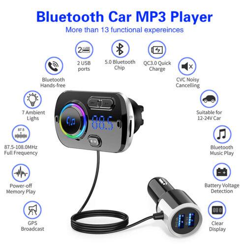 Bluetooth Car Handsfree Kit 2 USB Charger FM Transmitter Wireless Adapter Radio