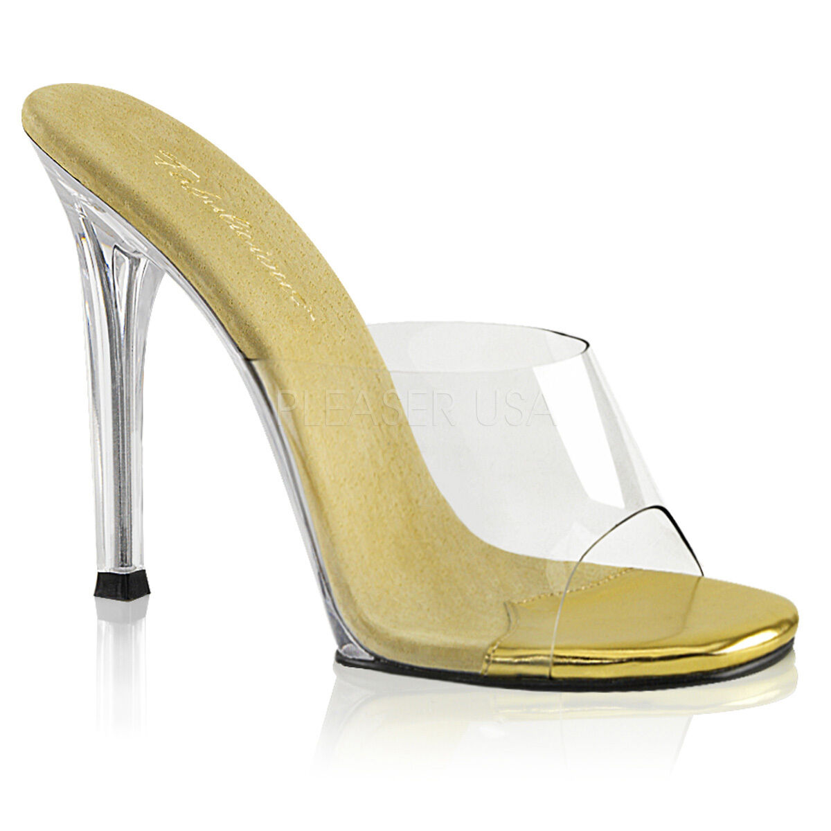 PLEASER Sexy shoes Pageant Slip On gold 4 1 2  High Heels Mules GALA01 C-G C