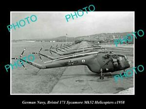 OLD-POSTCARD-SIZE-PHOTO-OF-GERMAN-NAVY-BRISTOL-SYCAMORE-HELICOPTERS-c1958