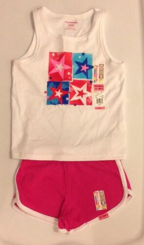NEW Girls Garanimals White Star Print Tank Top and Pink Knit Shorts Set 3T