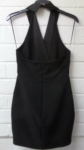 Women Ladies New Smart V Wrap Halterneck Short Open Back Black Dress UK 6-18