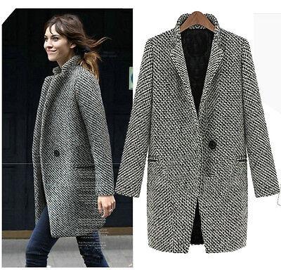 Womens Jacket Plus Size Woolen Gray Parkas Overcoat Long Suit Coat Outwear