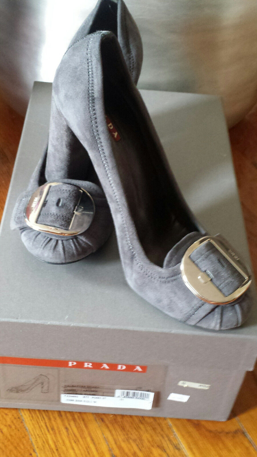 Prada Suede Hills Shoes Hills Suede Gray Silver Buckle w box Italy Size 37 050c43