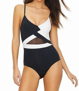 Anne-Cole-Womens-Swimwear-Black-White-Size-8-Colorblock-Mesh-One-Piece-98-915