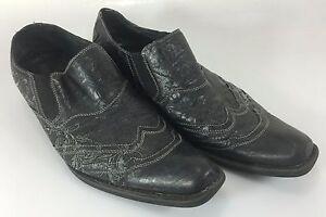 G-Rock-Brutini-Shoes-Mens-10-Black-Leather-w-Stitching-runs-large