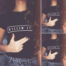 Womens Summer Loose Casual Short Sleeve Letter Print Grunge Tee Tops T-Shirt New