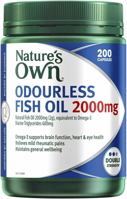 Nature's Own Odourless Fish Oil 2000mg Capsules Source Of Omega 3 200 Count NEW