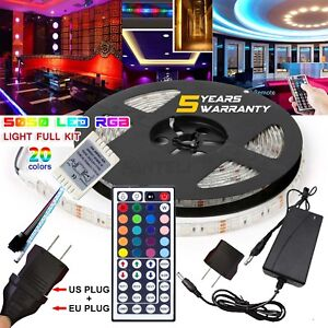5M-RGB-5050-Waterproof-LED-Strip-Light-44-Key-Remote-12V-US-EU-Power-Full-Kit