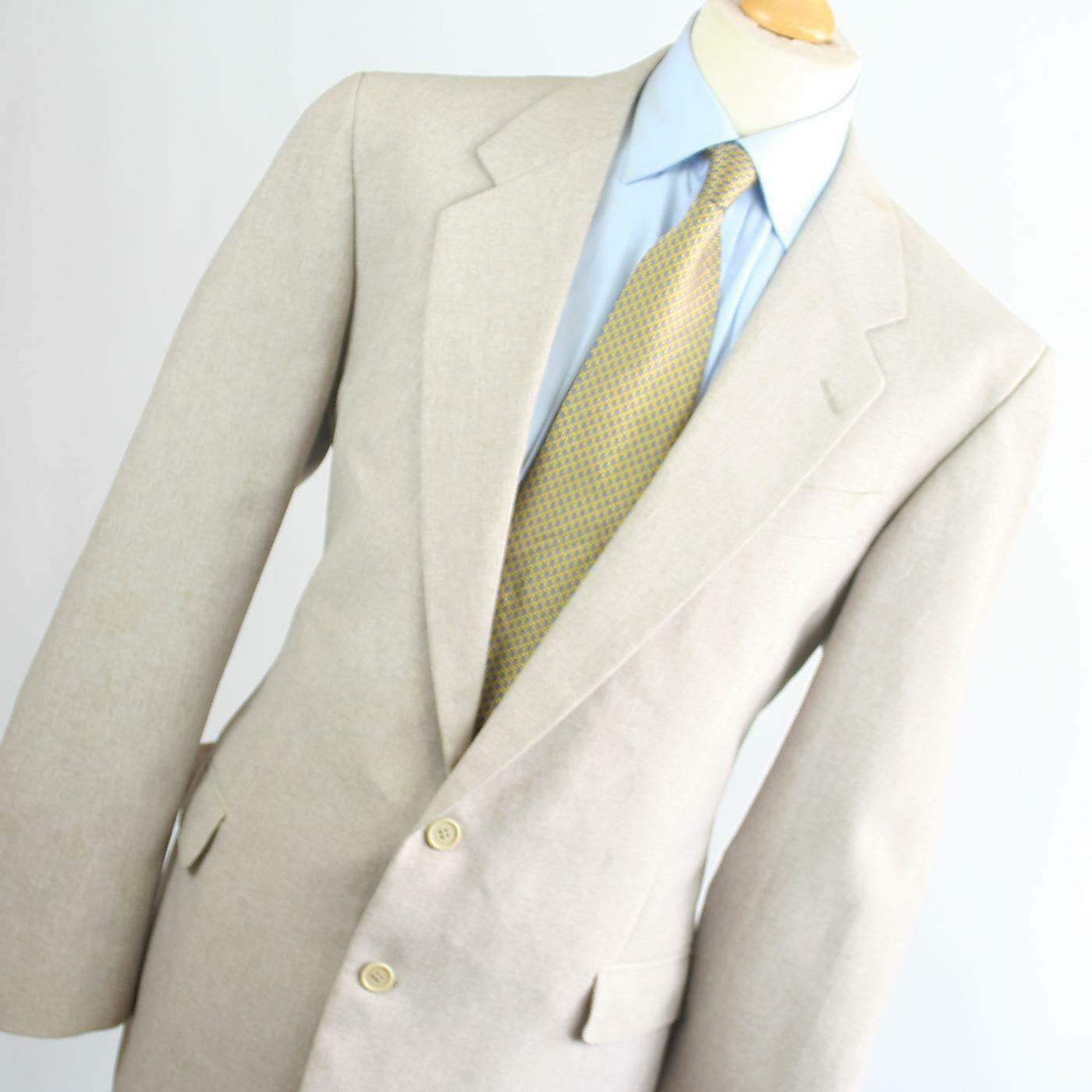 C&A  Herren Beige Wool Blend Single Breasted Suit 44/40 (Long)