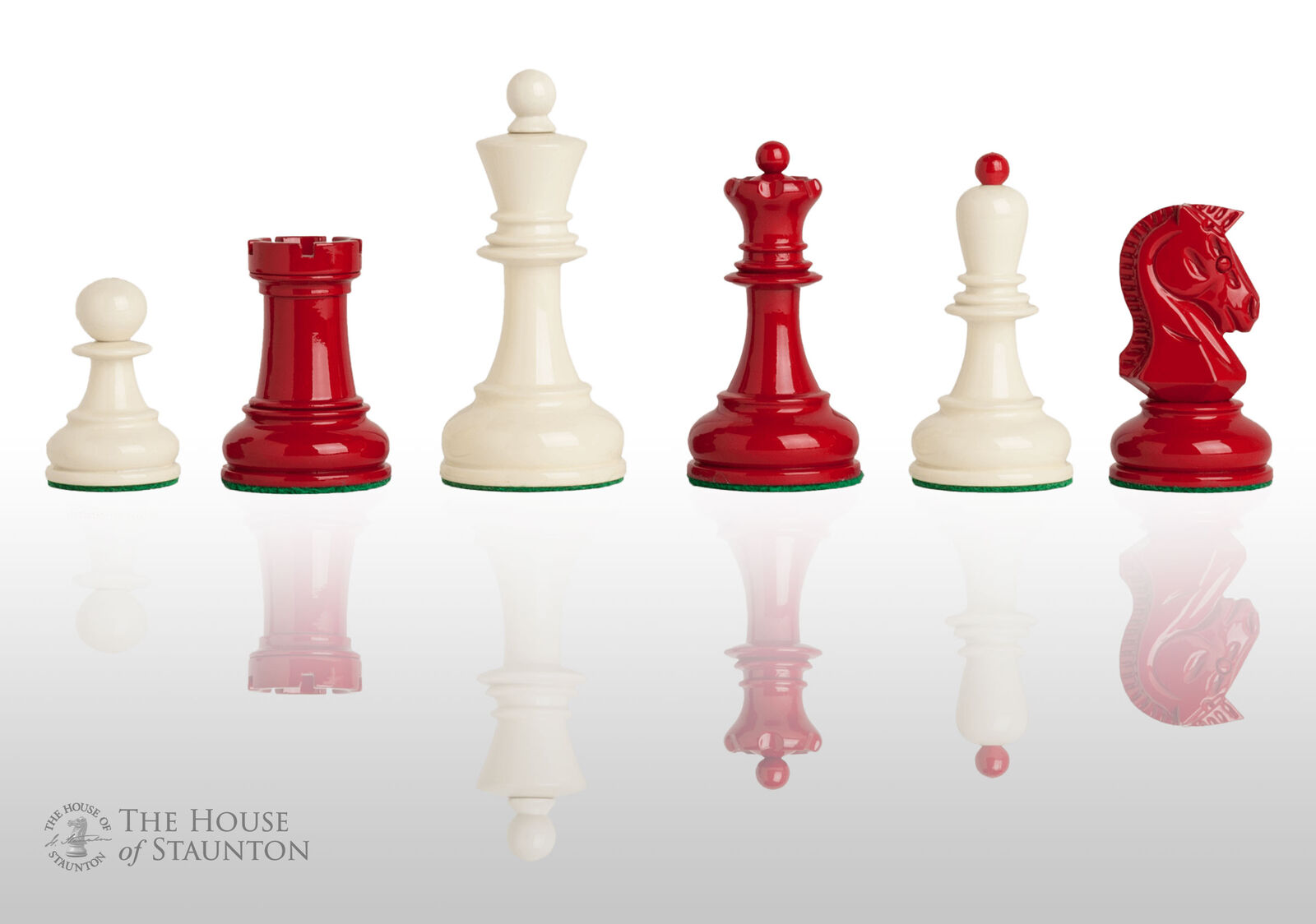 USCF Sales The Dubrovnik Chess Set - Pieces Only - 3.75  King - rosso and bianca La