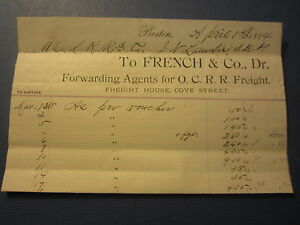 1884 French & Co. Old Colony Railroad Freight Agents Billhead Document - Boston