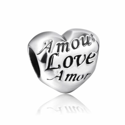 love heart silver charms bead Fit European charm Bracelet//Necklace chain J-359
