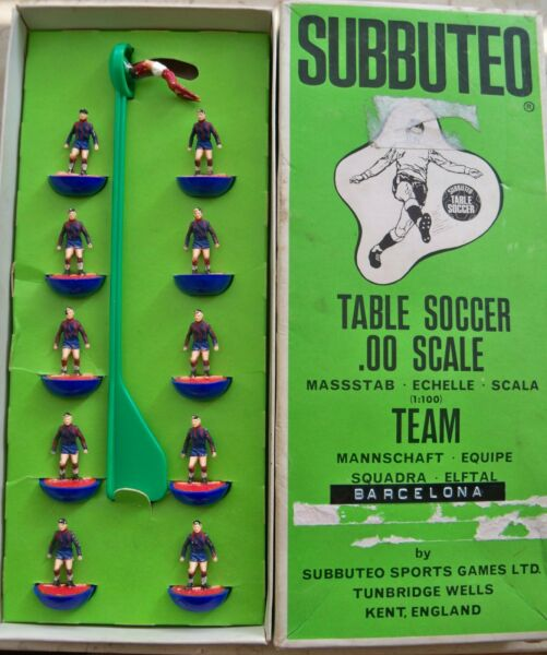 2019 Nieuwste Ontwerp Subbuteo Team Barcelona (spa) Hw Ref N.19 Players And Long Box Great Conditions Obstructie Verwijderen