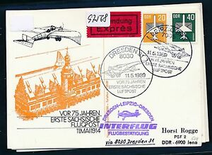 97568) Rda Coursier So-carte If Sf Leipzig-dresde 11.3.89, Mif-afficher Le Titre D'origine
