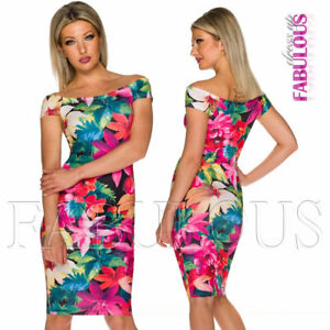 New-Floral-Flower-Print-Summer-Party-Evening-Dress-Size-6-8-10-S-M
