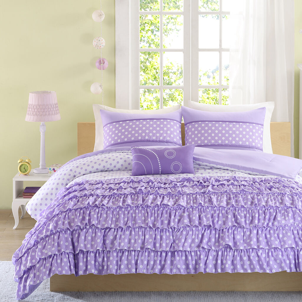 BEAUTIFUL lila POLKA DOTS RUFFLE PLEAT WATERFALL TEXTUrot GIRLS COMFORTER SET