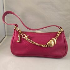 JUICY COUTURE~Vintage LEATHER FUSCHIA PINK Mini Purse Gold Heart Chain