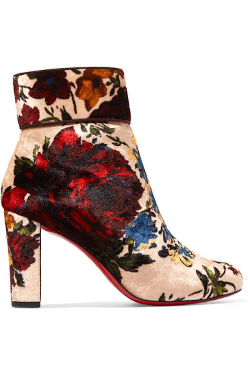 NIB Christian Louboutin Moulamax 85 Nude ROT Heel Velvet Floral Heel ROT Bootie Boot 37 b50370
