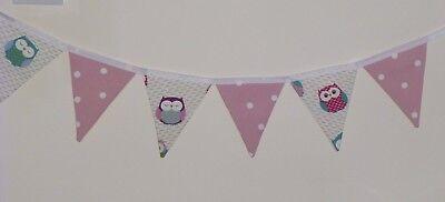 BUNTING FLAGS WEDDING PARTY VINTAGE FRYETTS OWLS CLARKE PINK DOTTY KIDS NURSERY