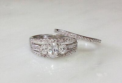 Rhodium Plated Tri Stone Oval Wedding Set Band Ring Size 5,6,7,8,9,10 (f539)