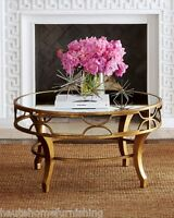 Horchow Lena Fretwork Mirrored Cocktail Coffee Table Antique Gold Round