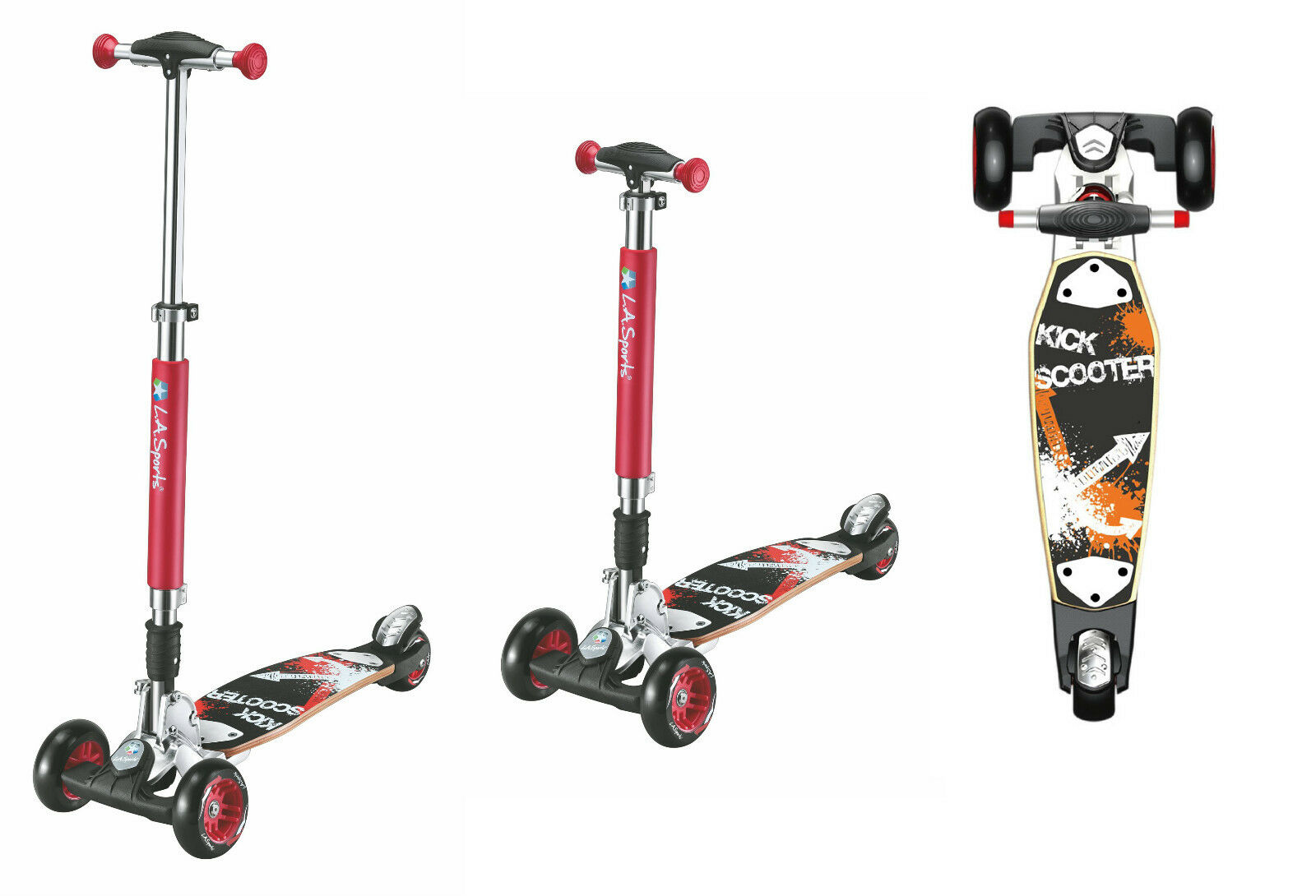 Three Wheel Tri Scooter for Kids and Adults LA Sports Maxi Street Board
