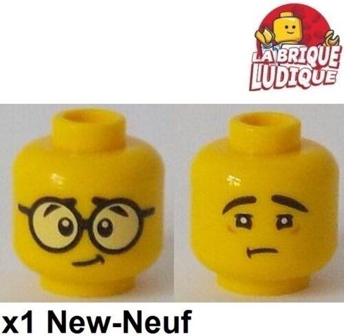 Lego 1x minifig tête head homme boy lunette glasses triste sad 3626cpb2133 NEUF