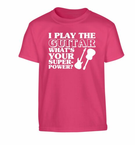 I play the guitar what/'s your power kid/'s t-shirt music strum bass electric 3997