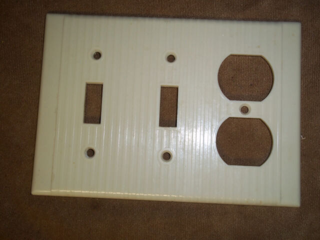 Vintage Double Switch outlet cover White Ribbed Ivory Color Leviton USA