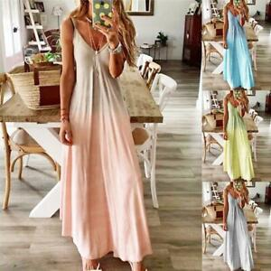 Women-Sexy-Summer-Strappy-Holiday-Floral-Long-Boho-Kaftan-Dress-Beach-Maxi-Dress