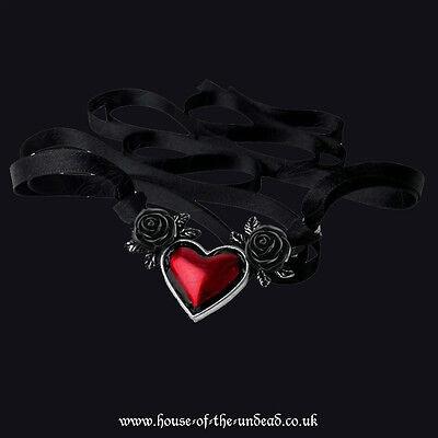 ALCHEMY GOTHIC BLOOD HEART ROSE PENDANT. BLACK ROSES. RED ENAMEL. DARK ROMANCE.
