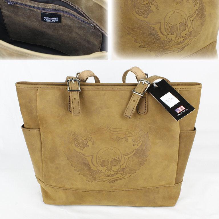 Biker Skull Totenkopf Tote Bag Handtasche Beutel Vintage Vintage Vintage Style Tasche Echt Leder   Diversified In Packaging  a043a3