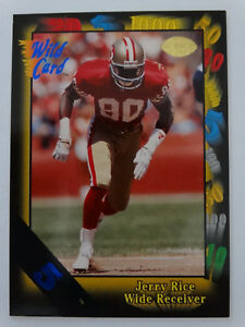 1991-Wild-Card-73-Jerry-Rice-San-Francisco-49ers-5-Stripe-Football-Card
