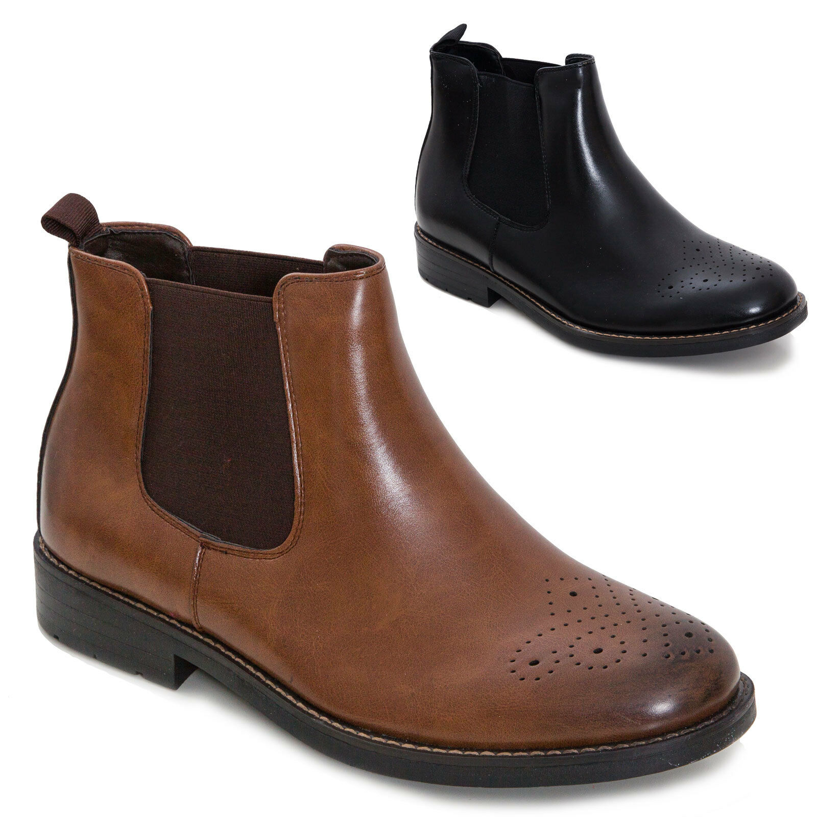 Men's shoes booties elastic velour lace-up eco-leather elegant perforated 82-978