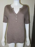 Inc Plus Taupe Ribbed Knit Jeweled Button Sweater Size 0x Brand