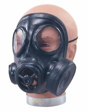 Deluxe BLACK RUBBER GAS MASK World War 1940/'s Zombie Scary Face Police Costume