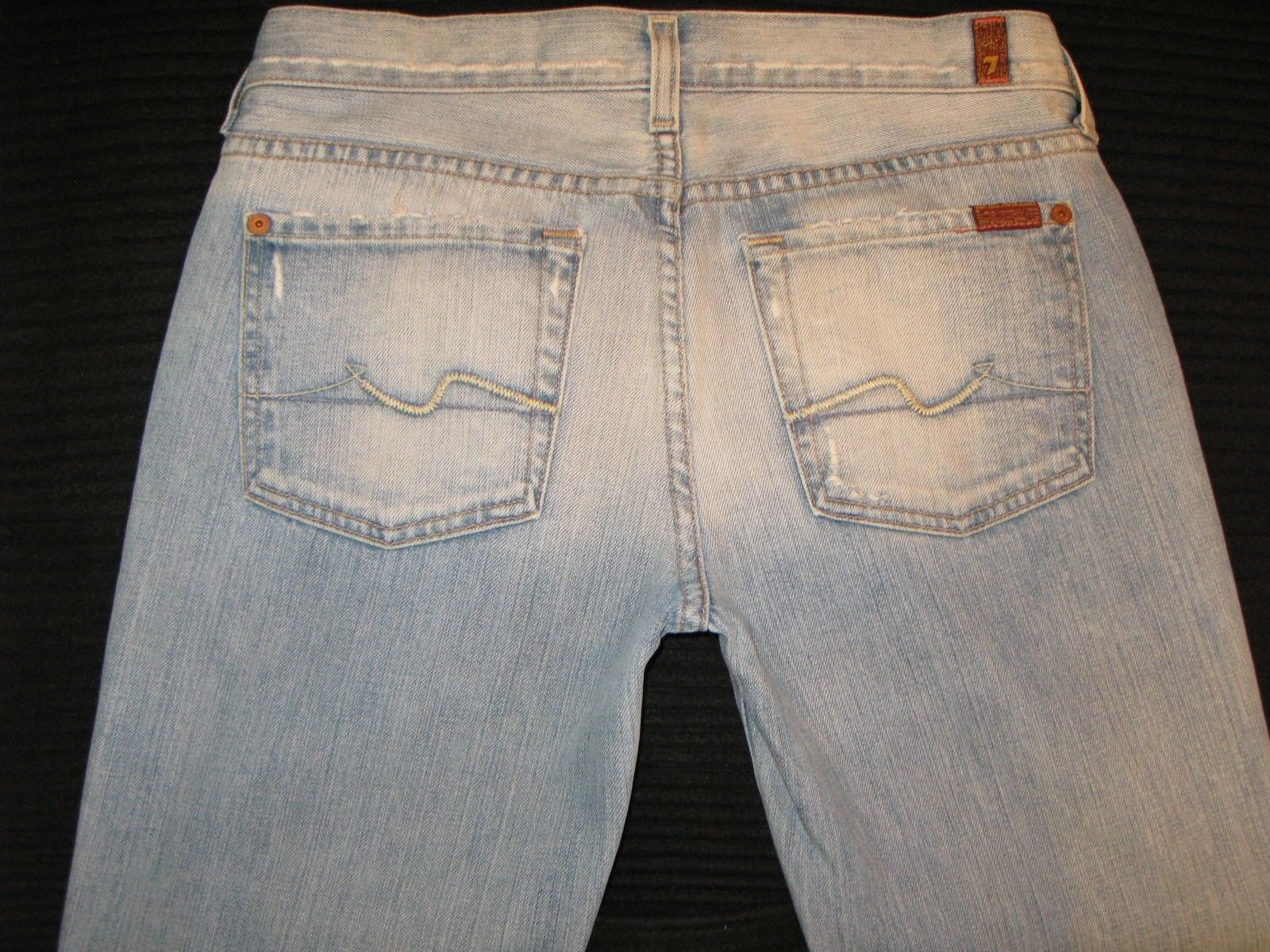 7 for all Mankind Bootcut jeans Woman Sz 28 100% Cotton Distressed Wash