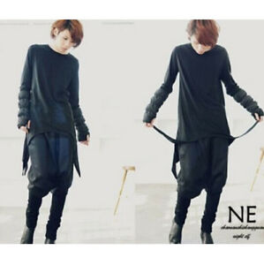 Korean fashion casual men 39 s avant garde long sleeve t for Mens shirt with tassels